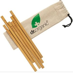 🤑Dr Organic 6pc Bamboo straw set with bag